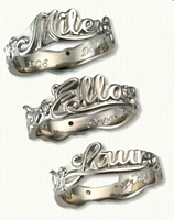 Custom Sculpted Band with Names & 3 Diamonds (.02ct) Bead Set