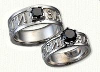 Custom Cyrillic Text Band with 2.5mm Square Princess Black Diamond