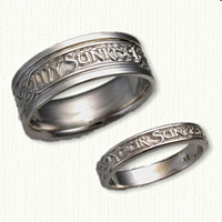 14kt Custom Phrase Wedding Band - My Earth Your Sunrise