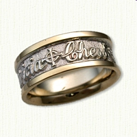 Custom band with Patricia, Cross, Chess and Hearts Wedding Band