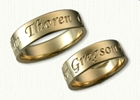 14kt Yellow Gold Custom Personalized Wedding Bands - Reverse Etch