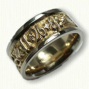 custom 14kt two tone personalized wedding band - Personalized Wedding Rings