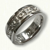 Custom Personalized Wedding Band - two names with heart symbol