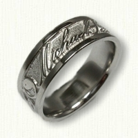 14kt White Gold Custom Personalized Wedding Band
