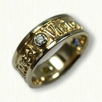 14kt Yellow Gold Custom Mothers Ring with names and Bezel set stones