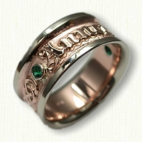 14kt Two Tone Custom Personalized Wedding Band set with (2) Chatham Emeralds Bezel Set