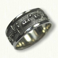 14kt White Gold Custom Elvish Font Wedding Band with Black Ruthinium Plating