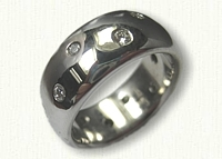 14kt White Gold Custom Rounded Polka Dot Band with Varied Size Diamonds - 8.0 mm width
