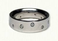 platinum polka dot wedding bands with diamonds