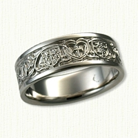 14kt White Gold Custom Religious Wedding Band