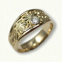 14kt Yellow Gold Tapered Monogram Ring with Cross and .12ct bezel set diamond