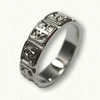 14kt White Gold Celtic Triangle Knot with Alternating Cross Wedding Band