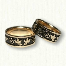 14kt Yellow Gold Custom Dove Wedding Band Set- Black Antiquing