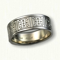 14kt White Gold Repeating Maltese Cross Wedding Band - 10.0 mm width