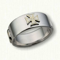 14kt White Gold Plain Band with Raised Maltese Crosses - 9.5 mm width
