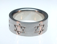 Reverse Etch Star of David Band with Sleeve