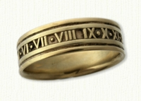 Custom Roman Numeral Wedding Bands in gold and platinum