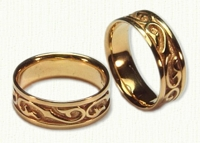 Custom Scroll Wedding Bands in gold and platinum