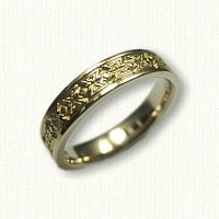 14kt Yellow Gold Mojave Band - Narrow 4mm width Regular Etch