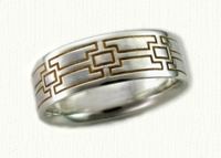 greek key-like wedding bands