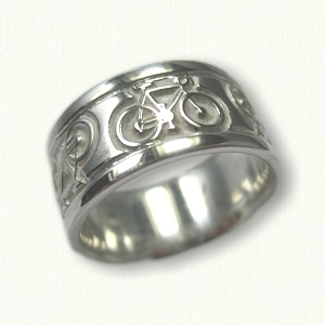 Ring Sterling Silver Custom Bicycle Wedding Band 9 0 Mm Width