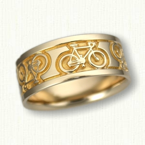 ... Rings 14kt Yellow Gold Custom Bicycle Wedding Band  9.0 Mm Width ...