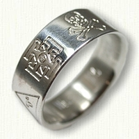 Sterling Silver Custom Civil War Wedding Band 8mm - Reverse Etch