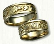 Custom Story Wedding Band  Bible / Cross / Interlocking Wedding Bands / Initials WP / Dove