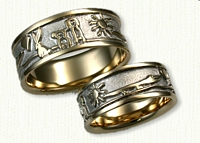 Custom Wedding Bands with Sun, Alligator,Heart, Rabbit & Dogs