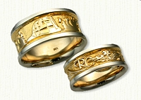14kt Two Tone Custom Story Band Wedding Set