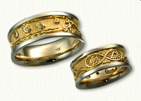 Custom Theme Wedding Band per Sketch (3)  Small .015ct Diamonds in the Falling Stars