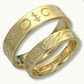 18kt Yellow Gold Custom Initial Symbol Band Reverse Etch Wedding Band Set