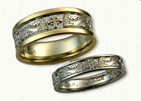 Custom Lion, Love Knot, Celtic Cross Story Wedding Band Set