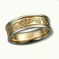 14kt Two Tone Custom Guitar Story Wedding Band