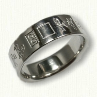 Platinum Custom Story Designed Wedding Band