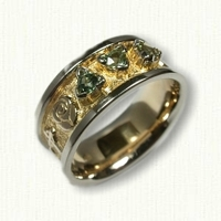 Custom Story Band with Trillion Cut Green Sapphires