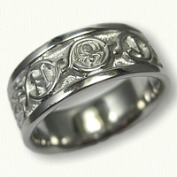 14kt White Gold Custom Band with Knots, Runes, Spider -