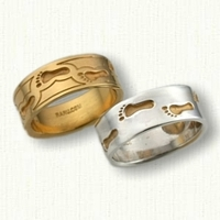 14kt Custom Footprints Wedding Band Set-Reverse Etching