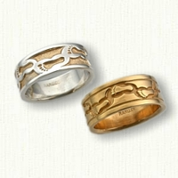 14kt Custom Footprints Wedding Band Set-Regular Etching