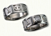 Symbols Wedding Rings in gold and platinum