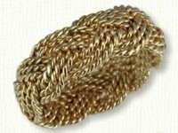 14kt yellow gold, 3 strand hand woven turks head knot ring