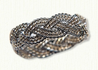 14kt two tone, 3 strand hand braided Turks head knot band