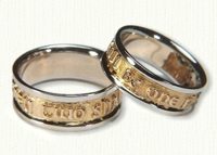 Custom 2 tone Two Shall Be One Wedding Bands