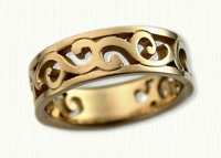 #29: 14kt yellow pierced Walden Vine Wedding Band