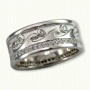 14kt white gold custom waves wedding band with diamonds regular etch shown with 10 - Used Wedding Rings For Sale