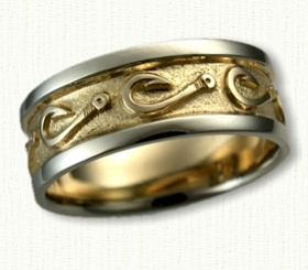 Nautical themed wedding rings affordable unique gold for Fish hook wedding ring