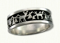 14kt White Gold Wilderness Wedding Band