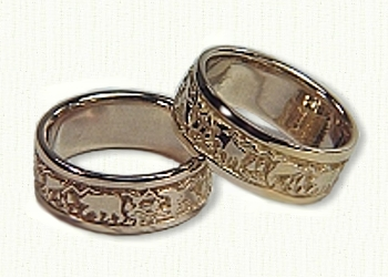 Custom Mountain Range Wedding Bands Affordable unique gold ring